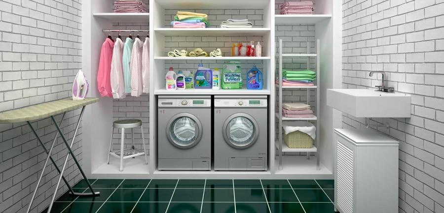 un sèche linge et un lave linge encastrés dans un dressing, buanderie