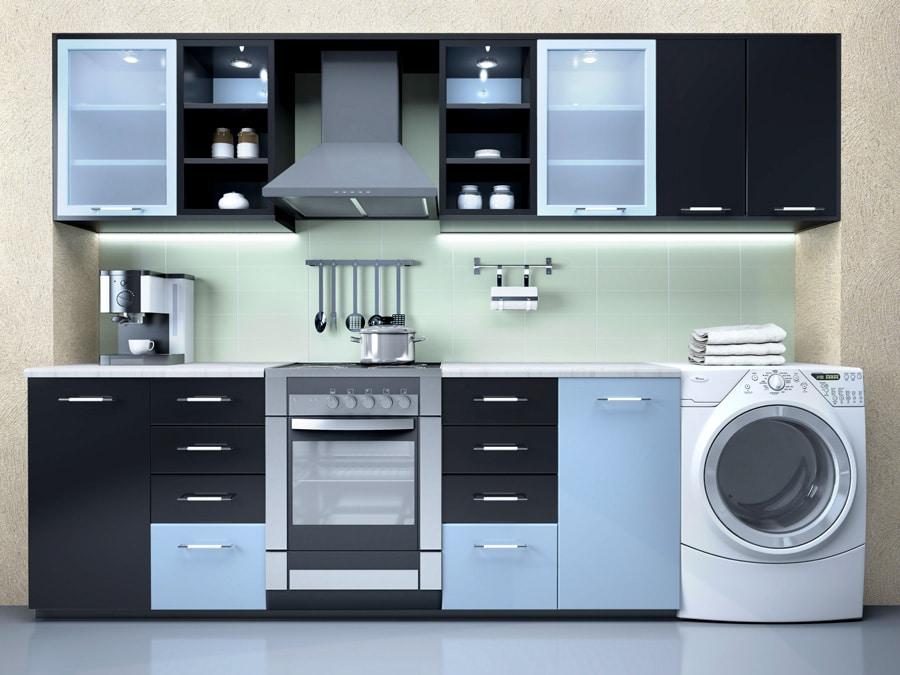 Un sèche linge encastré dans une cuisine design noire et argent