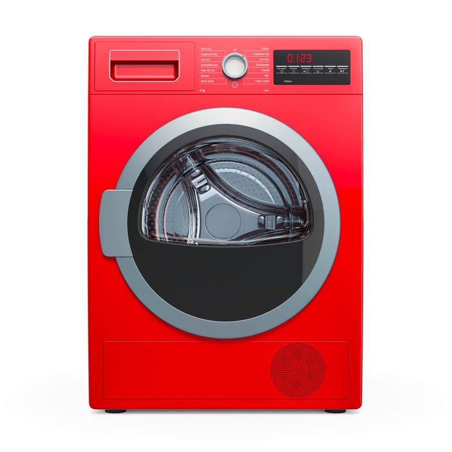 Un sèche-linge rouge